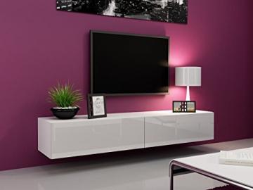 TV Board Lowboard Migo Hängeschrank Wohnwand 180cm (Weiß Matt /Weiß Hochglanz) -