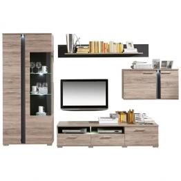 CARRYHOME: Wohnwand, Glas, Holzwerkstoff, Eiche, Schiefer, B/H/T 331 204 54 Eiche, Schiefer