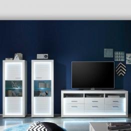 Design Schrankwand mit LED Beleuchtung Weiß Hochglanz (3-teilig)
