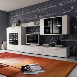 Design Wohnwand in Hochglanz Weiß Beleuchtung (4-teilig)