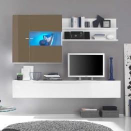 Design Wohnwand in Weiß Beige Hochglanz hängend (3-teilig) Weiß,Beige
