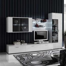 Design Wohnwand in Weiß Hochglanz Beleuchtung (4-teilig)