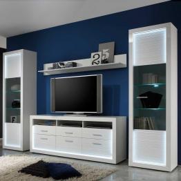 Design Wohnwand mit LED Beleuchtung Hochglanz Weiß (3-teilig)