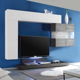 Design Wohnwand mit TV Podest Weiß Hochglanz Eiche Wenge (4-teilig)