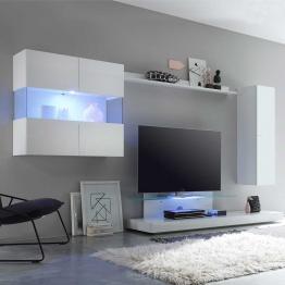 Designer Wohnwand in Weiß Hochglanz 320 cm breit (4-teilig)