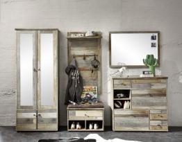 Garderobe Driftwood Mit Dielenschrank Und Spiegel Woody 22-01286 braun Holz Vintage