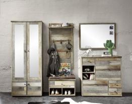Garderobe Driftwood Mit Dielenschrank Und Spiegel Woody 22-01286 Braun Holz Vintage braun