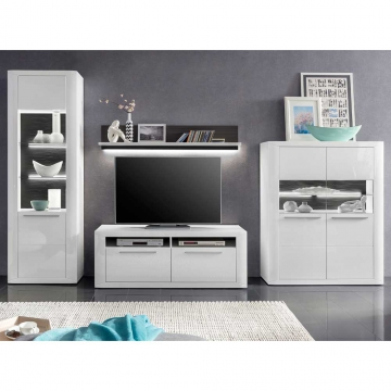 hochglanz anbauwand in wei led beleuchtung 4 teilig wohnw nde zum bestpreis kaufen. Black Bedroom Furniture Sets. Home Design Ideas