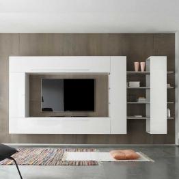 Hochglanz Wohnwand in Weiß 340 cm breit (4-teilig)