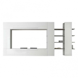 Hochglanz Wohnwand in Weiß 340 cm breit (4-teilig) Weiß,Holz,Braun