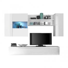 Hochglanz Wohnwand in Weiß Beleuchtung (4-teilig) Weiß