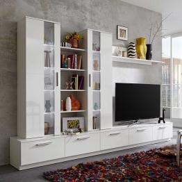 Hochglanz Wohnwand in Weiß Wechsellicht (5-teilig)