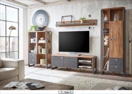 Home affaire 4-teilige Wohnwand braun ohne Aufbauservice »Detroit Set 3« FSC®-zertifiziert braun