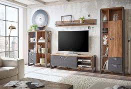 Home affaire 4-teilige Wohnwand »Detroit Set 3«, im angesagten Industrial-Look, braun, mit Aufbauservice, braun/ schieferfarben braun