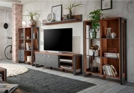 Home affaire Wohnwand (4tlg.) »Detroit Set 1«, im angesagten Industrial Look, braun, ohne Aufbauservice, braun/ schieferfarben braun