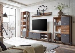 Home affaire Wohnwand (4tlg.) »Detroit Set 4« im angesagten Industrial Look, braun, ohne Aufbauservice, braun/ schieferfarben braun