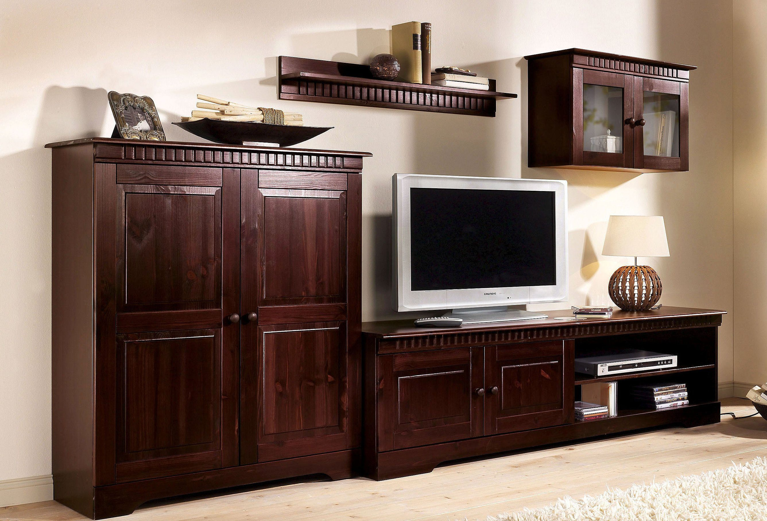 home affaire wohnwand braun braun wohnw nde zum. Black Bedroom Furniture Sets. Home Design Ideas
