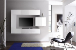 Moderne CUBE Wohnwand MILANO No.1 made in Italy Hochglanzweiß weiß