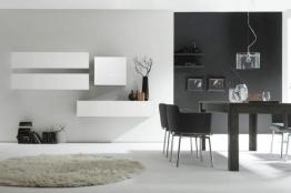 Moderne CUBE Wohnwand MILANO No.7 made in Italy weiß Hochglanz weiß