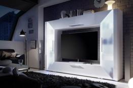 Moderne Design Wohnwand SPOTLIGHT weiß Hochglanzfront inkl. RGB Front: Hochglanz Weiß / Korpus Matt