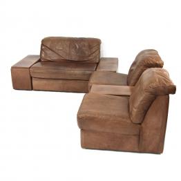 Modulares Braunes Vintage Leder Wohnzimmer Set Braun
