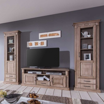 schrankwand im landhausstil rustikal eiche 3 teilig wohnw nde zum bestpreis kaufen. Black Bedroom Furniture Sets. Home Design Ideas