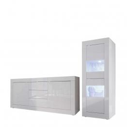 Schrankwand in Hochglanz Weiß Wechsellicht Beleuchtung (2-teilig) Weiß