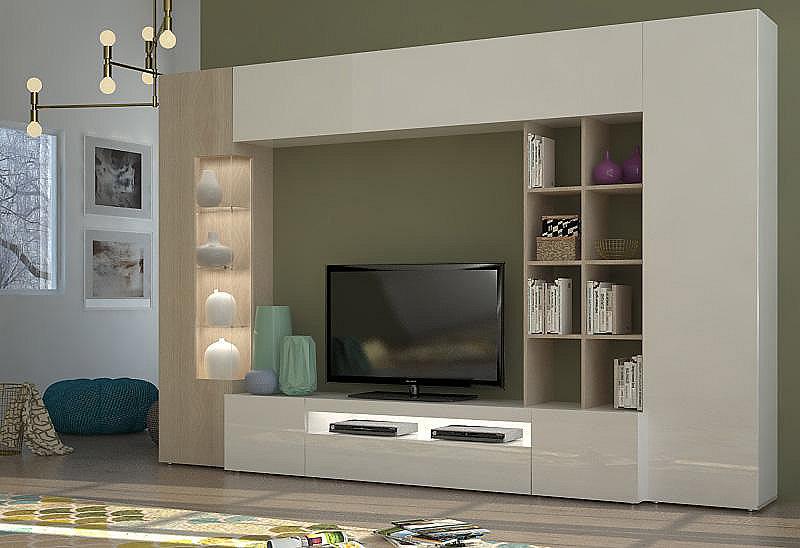tecnos wohnwand 5 tlg wei wohnw nde zum bestpreis kaufen. Black Bedroom Furniture Sets. Home Design Ideas