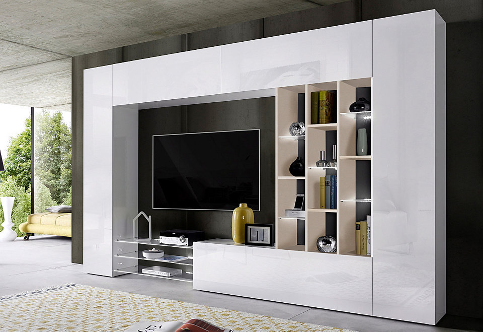 tecnos wohnwand 6 tlg natur wohnw nde zum bestpreis. Black Bedroom Furniture Sets. Home Design Ideas