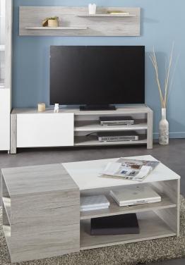 Tv-unterteil Wandboard Und Couchtisch Portofino Grey/ Weiss Hochglanz Woody 167-00422 Eiche Holz Modern