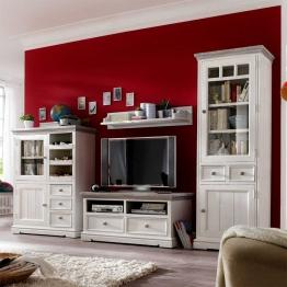 TV Wand aus weißem Kieferholz Shabby Chic (4-teilig) Weiß