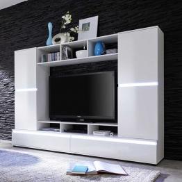 TV Wand in Hochglanz Weiß Wechsellicht