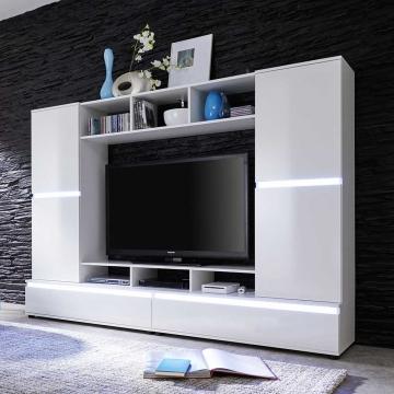 ➥ TV Wand in Hochglanz Weiß Wechsellicht ➟ - Wohnwände zum ...