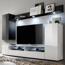 TV Wohnwand in Schwarz Weiß Hochglanz