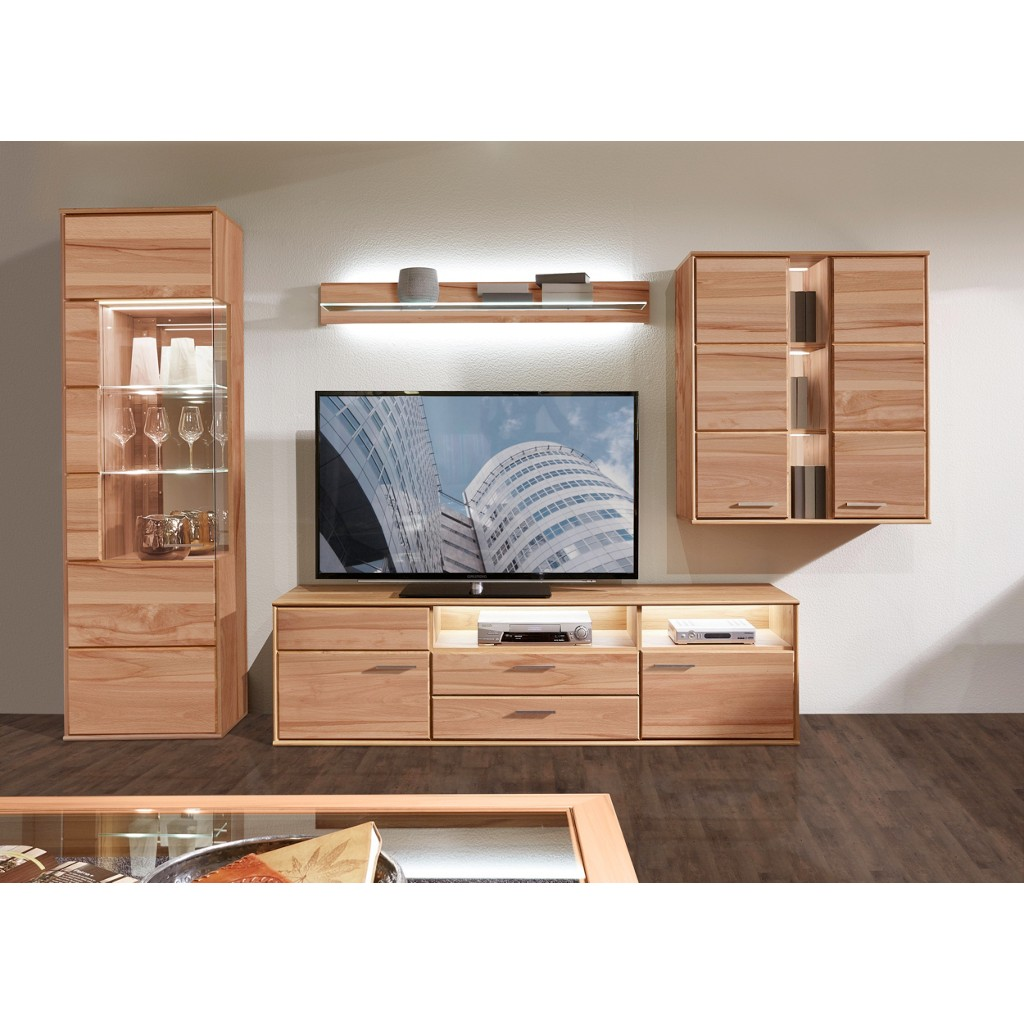 voleo wohnwand glas holz buche b h t 328 204 40 48. Black Bedroom Furniture Sets. Home Design Ideas