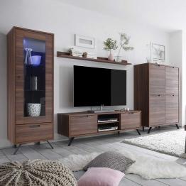 Wohnkombination in Nussbaum Retro Design (4-teilig)