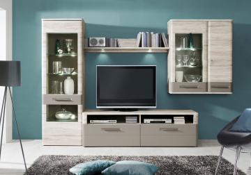 wohnwand basalt tiefgezogen sandeiche tiefgezogen woody. Black Bedroom Furniture Sets. Home Design Ideas