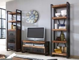 Wohnwand Bocas Sheesham Altmetall Lowboard 2x Regal TV-Wand Used Look