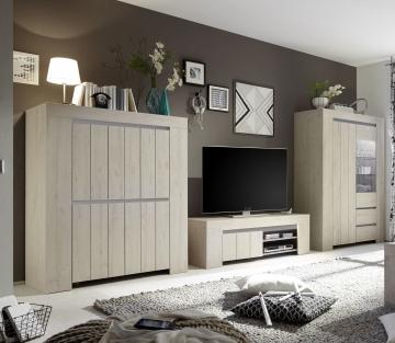 wohnwand eiche hell beige woody 12 01095 holz modern eiche wohnw nde zum bestpreis kaufen. Black Bedroom Furniture Sets. Home Design Ideas