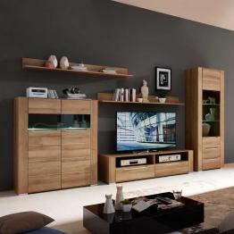 Wohnwand in Eiche Beleuchtung (5-teilig) Holz,Braun