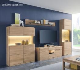 Wohnwand In Eiche Bianco Massiv Woody 35-00274 Holz Modern