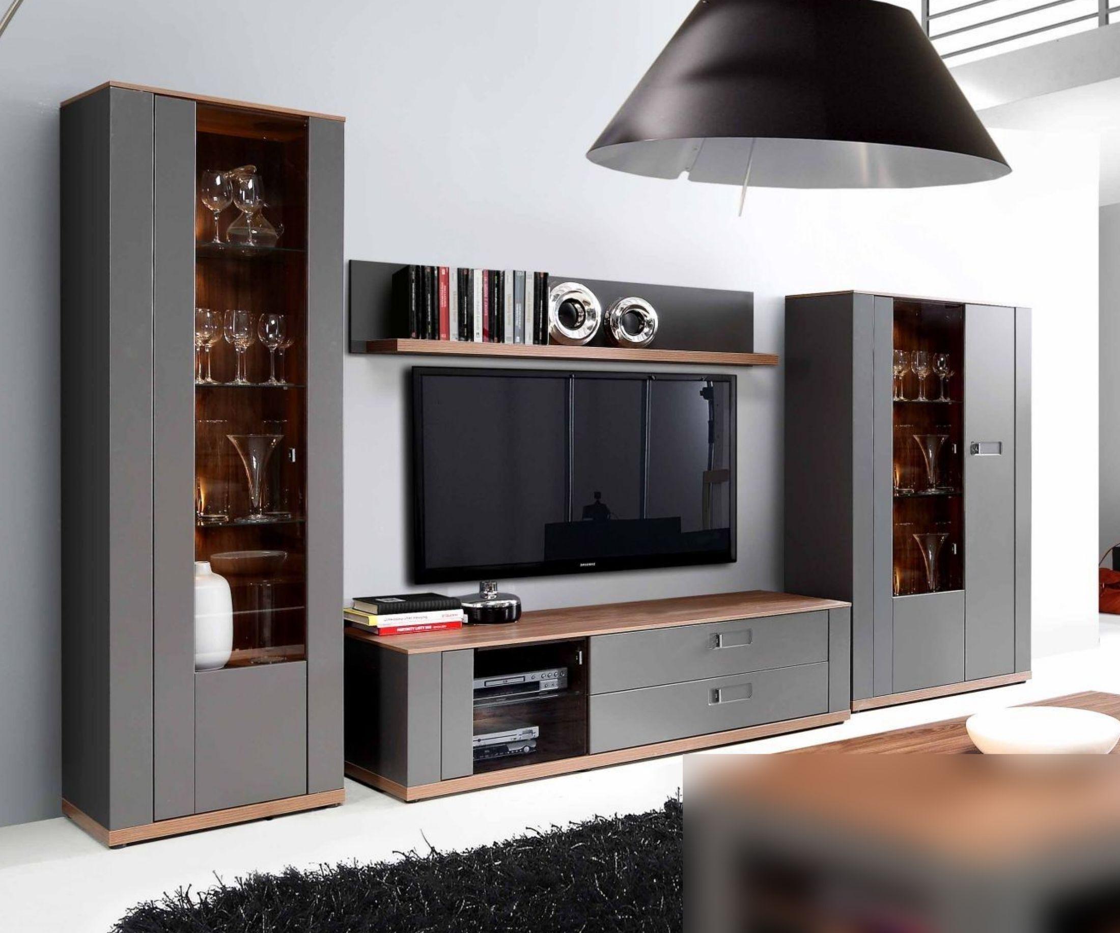 Wohnwand In Grau Matt Und Sangallo Eiche Woody 77 00823 Holz Modern Grau Wohnwande Zum Bestpreis Kaufen