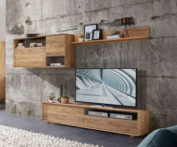 wohnwand in navarra eiche woody 121 00513 holz modern eiche wohnw nde zum bestpreis kaufen. Black Bedroom Furniture Sets. Home Design Ideas