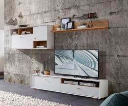 Wohnwand In Pinie Weiss Woody 121-00515 Holz Modern