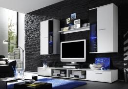 Wohnwand In Weiß/ Abs. Schwarz Inkl. Beleuchtung Woody 93-00142 Modern Schwarz