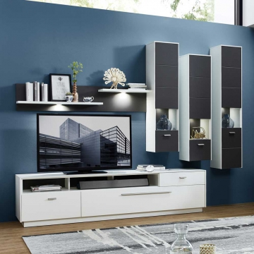 wohnwand in wei grau led beleuchtung 5 teilig. Black Bedroom Furniture Sets. Home Design Ideas