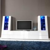 Wohnwand in Weiß Hochglanz Wechsellicht (4-teilig)