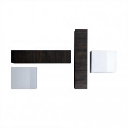 Wohnwand in Weiß Hochglanz Wenge hängend (4-teilig) Braun,Weiß,Wenge