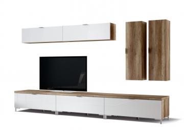 wohnwand in wildeiche glas weiss woody 156 00323 holz modern wohnw nde zum bestpreis kaufen. Black Bedroom Furniture Sets. Home Design Ideas