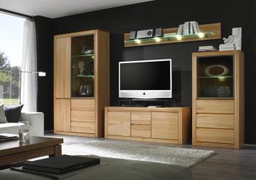 wohnwand kernbuche teilmassiv woody 35 00214 holz modern wohnw nde zum bestpreis kaufen. Black Bedroom Furniture Sets. Home Design Ideas